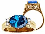 Tommaso Design™ Oval 10x8 mm Genuine Blue Topaz Ring style: 22743
