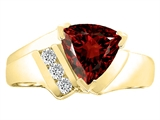 Tommaso Design™ Trillion 7mm Genuine Garnet and Diamond Ring