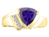 Tommaso Design™ Trillion 7mm Genuine Iolite and Diamond Ring