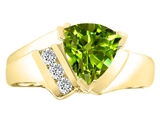 Tommaso Design Trillion 7mm Genuine Peridot and Diamond Ring
