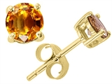 Tommaso Design™ Round Genuine Citrine Earrings Studs style: 22949