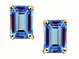 Tommaso Design™ Emerald Cut 8x6mm Genuine Blue Topaz Earrings