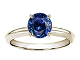 Tommaso Design™ Round 5mm Genuine Blue Sapphire Solitaire Engagement Ring