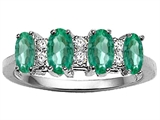 Tommaso Design™ Genuine 4 Stone Emerald and Diamond Ring