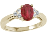 Tommaso Design™ Genuine Ruby Oval 7x5mmand Diamond Ring