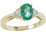 Tommaso Design™ Genuine Emerald and Diamond Ring style: 23199