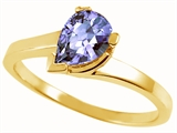 Tommaso Design™ Pear Shape 7x5mm Genuine Tanzanite Ring