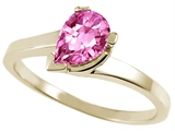 Tommaso Design™ Pear Shape 7x5mm Genuine Pink Tourmaline Ring