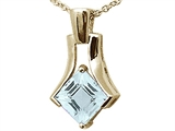 Tommaso Design™ Square Genuine Aquamarine with Checker Board Top Pendant