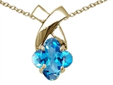 Tommaso Design Clover Cut 7mm Genuine Blue Topaz Pendant