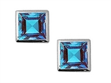 Tommaso Design™ Small Square Cut Genuine Blue Topaz Earrings