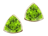Tommaso Design Trillion Cut 6mm Genuine Peridot Earrings