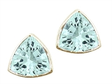 Tommaso Design™ Trillion Cut 6mm Genuine Aquamarine Earrings