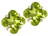 Tommaso Design Clover Cut 7mm Genuine Peridot Earrings