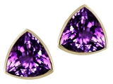 Tommaso Design™ Genuine Trillion Amethyst Earring Studs