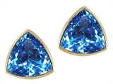 Tommaso Design Genuine Trillion Blue Topaz Earring Studs