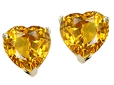 Tommaso Design™ Heart Shape Genuine Citrine Earrings Studs style: 23306