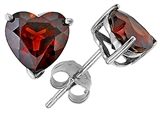 Tommaso Design Heart Shape Genuine Garnet Earring Studs