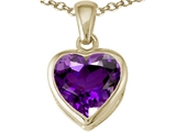 Tommaso Design™ Heart Shape 7mm Genuine Amethyst Pendant