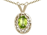 Tommaso Design Genuine Peridot Oval 6x4mm Pendant