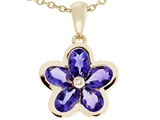 Tommaso Design™ .85 inch long Flower Pendant made with one Diamond and Genuine Pear Shape Iolite. style: 23358