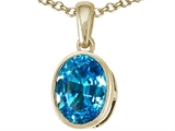 Tommaso Design Genuine 9x7mm Oval Checker Board Cut Blue Topaz Pendant