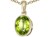 Tommaso Design Genuine 9x7mm Oval Checker Board Cut Peridot Pendant