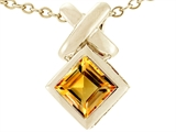 Tommaso Design™ Square Genuine Citrine Pendant style: 23396