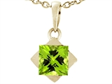 Tommaso Design 6mm Square Genuine Peridot Pendant