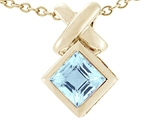 Tommaso Design™ Genuine Square Aquamarine Pendant