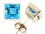Tommaso Design Square 5mm Genuine Blue Topaz Earrings