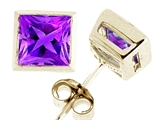 Tommaso Design™ Genuine Square Amethyst Earrings style: 23404