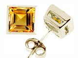 Tommaso Design™ Square 5mm Genuine Citrine Earrings style: 23405