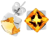 Tommaso Design Genuine Square Citrine Earrings