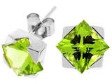 Tommaso Design Genuine Square Peridot Earrings