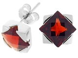 Tommaso Design Genuine Square Garnet Earrings