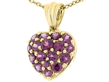 Tommaso Design 1inch Puffed Heart with Genuine Rhodolite Garnet Pendant