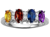 Tommaso Design™ Genuine 4 Stone and Diamond Mothers Ring