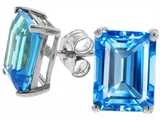 Tommaso Design™ Genuine Emerald Cut Blue Topaz Earrings