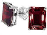 Tommaso Design Emerald Cut 8x6mm Genuine Garnet Earrings