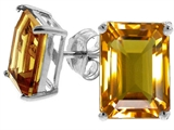 Tommaso Design Emerald Cut 8x6mm Genuine Citrine Earrings
