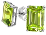 Tommaso Design™ Genuine Emerald Cut Peridot Earrings