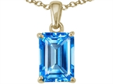 Tommaso Design Emerald Cut 8x6mm Genuine Blue Topaz Pendant