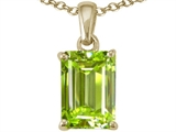 Tommaso Design™ Emerald Cut 8x6mm Genuine Peridot Pendant style: 23497