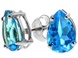 Tommaso Design Pear Shape Genuine Blue Topaz Earrings