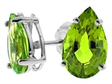 Tommaso Design Pear Shape 8x6mm Genuine Peridot Earrings