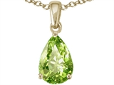 Tommaso Design Genuine 9x6mm Pear Shape Peridot Pendant