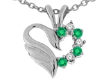 Tommaso Design Genuine Heart Shaped Swan Emerald Pendant
