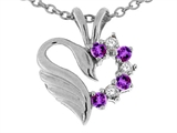 Tommaso Design Genuine Heart Shaped Swan Amethyst Pendant