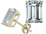 Tommaso Design 7x5 Emerald Cut Genuine Aquamarine Earrings